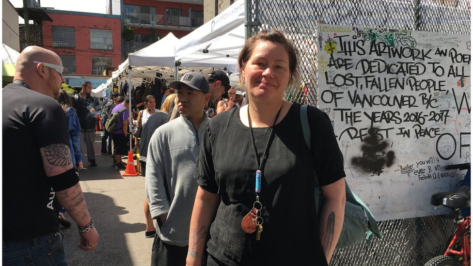 Sarah Blyth stands outside the Downtown Eastside street market