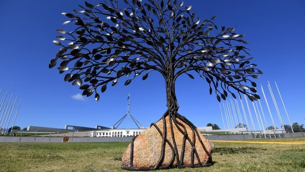 A sculpture acknowledging abuse victims outside Australia's parliament on Monday