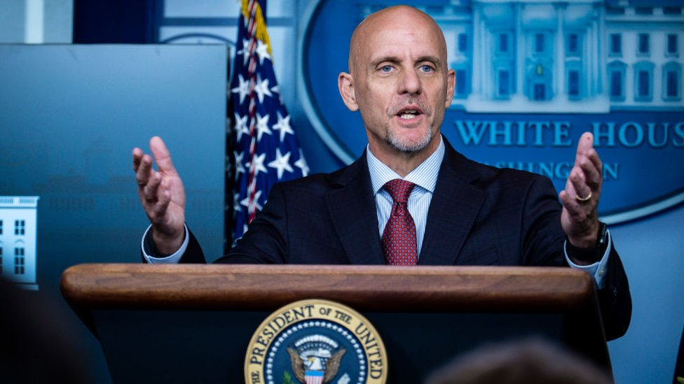 FDA Commissioner Stephen Hahn addresses the media during a press conference at the White House