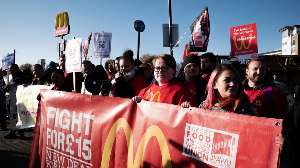 A McDonald's picket line