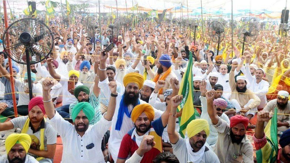 Campesinos de Punjab en una protesta