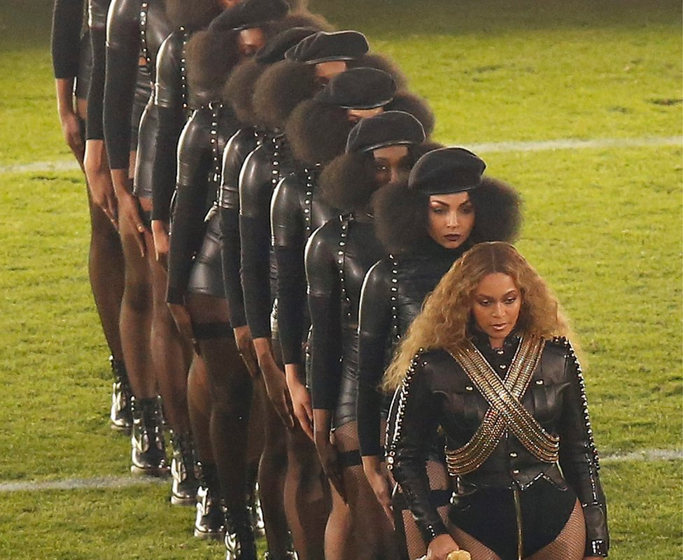 Beyonce performs during the halftime show of the NF's Super Bowl 50 in Santa Clara, California, USA, 07 February 2016.