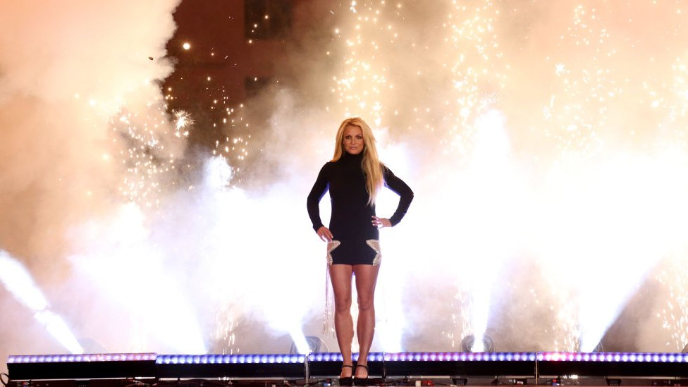 """Singer Britney Spears attends the announcement of her new residency, """"Britney: Domination"""" at Park MGM in October 2018"""