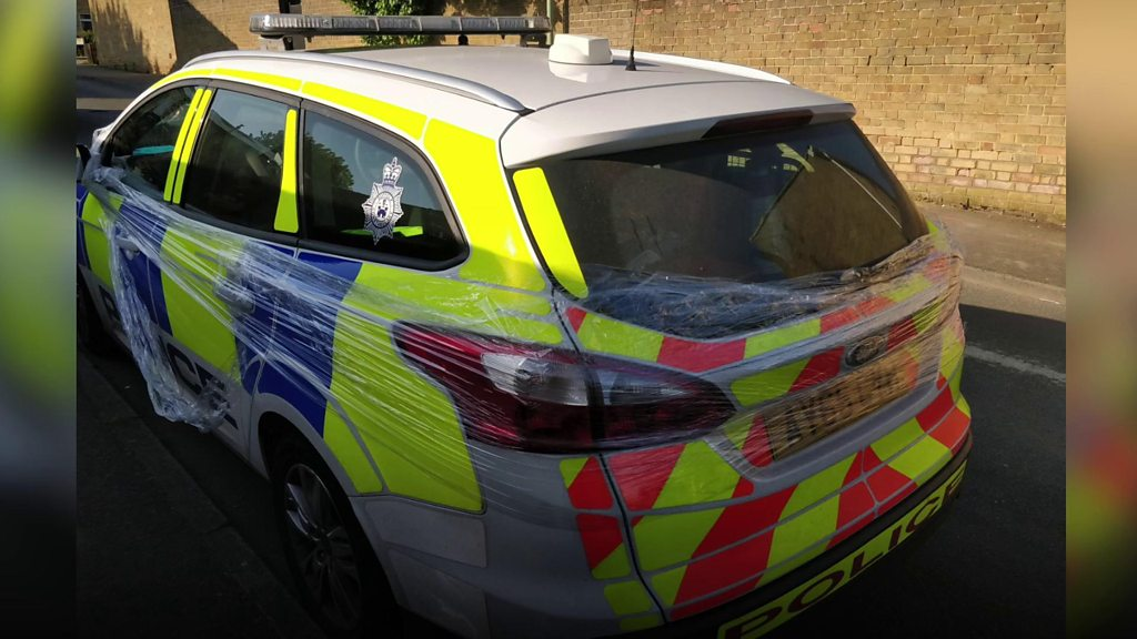 Haverhill police car wrapped in cling film