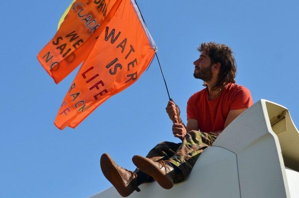 Rich Loizou protesting at Preston New Road