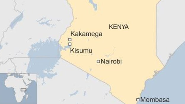 Map showing location of Kisumu