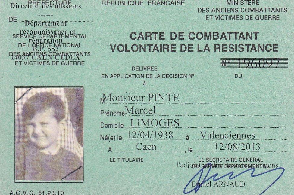 Marcel Pinte, posthumous Resistance ID card