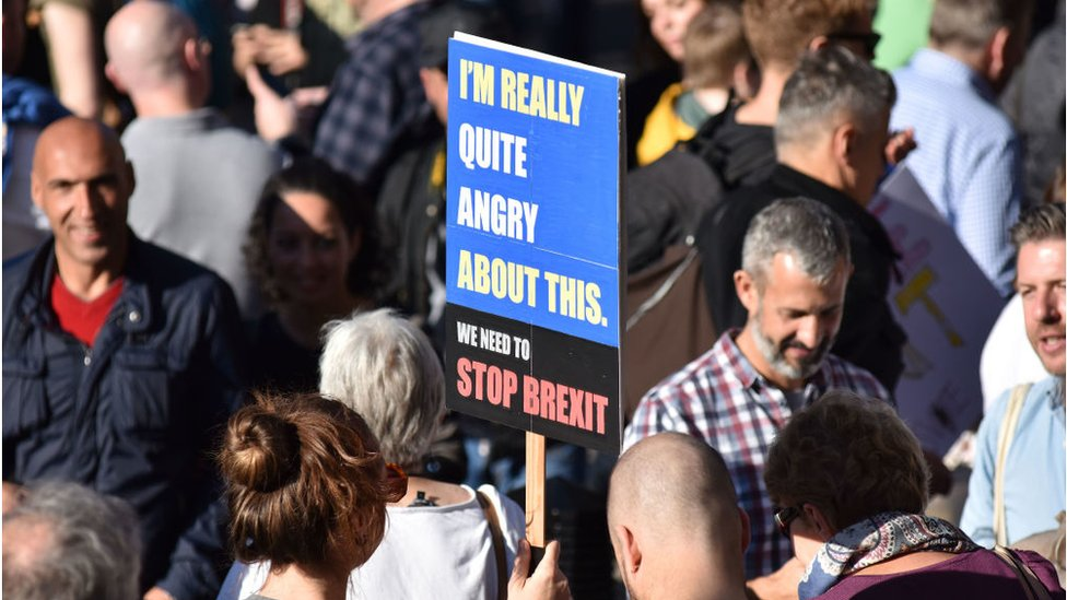 Protesters in London at a march demanding a people's vote against Brexit