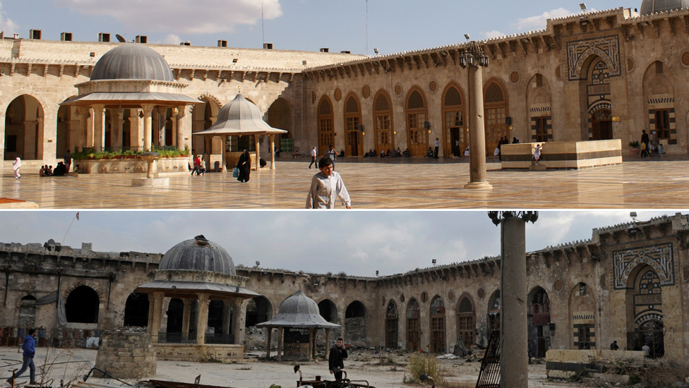 Umayyad mosque before and after