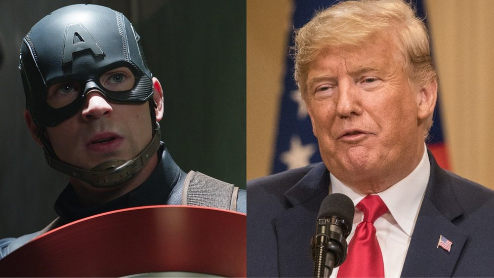 Captain America and President Donald Trump