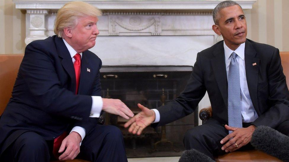 El entonces presidente electo Donald Trump se reunió con el presidente saliente Barack Obama en la Casa Blanca el 10 de noviembre de 2016