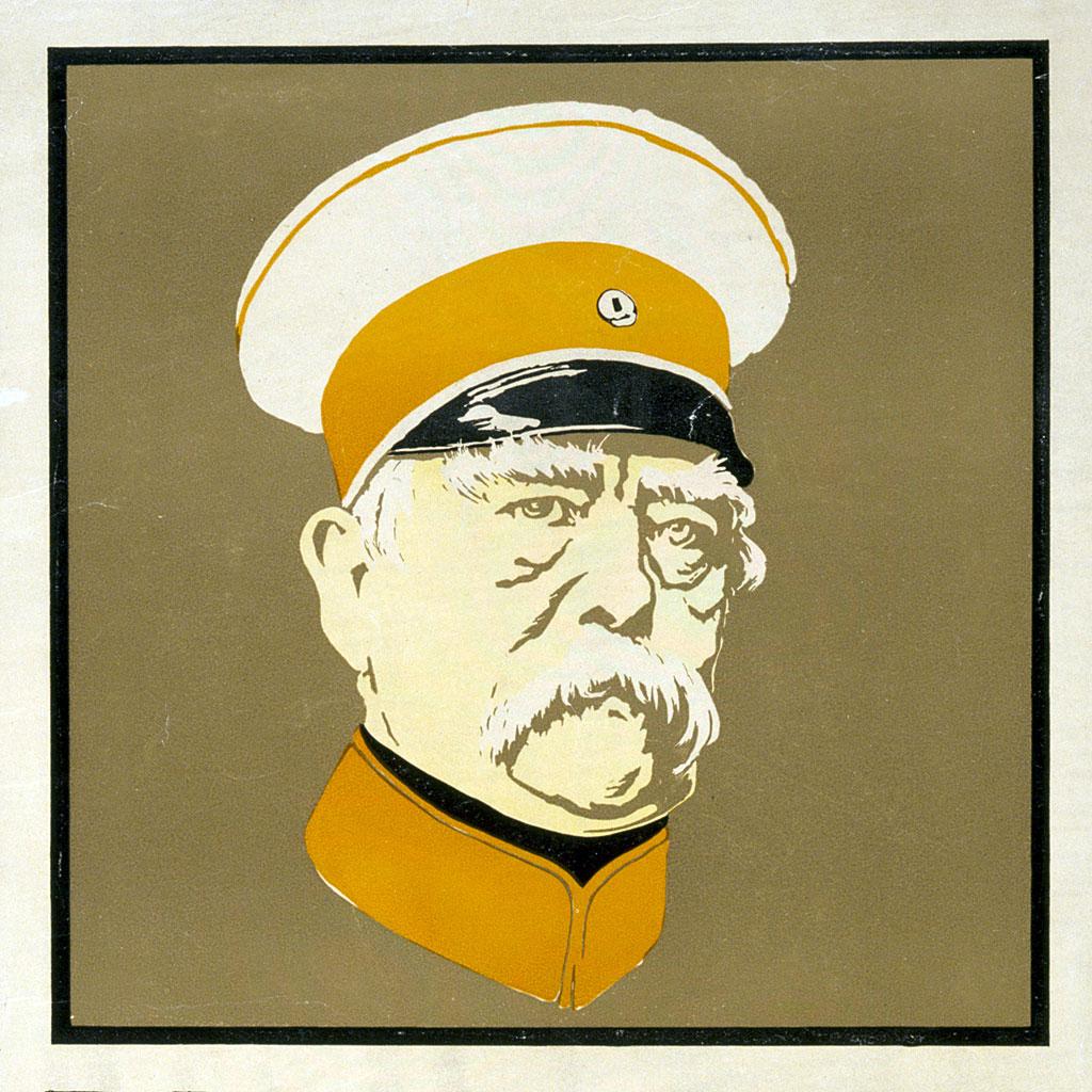 """Imagen del póster que publicitaba """"Bismarck: el hombre y el estadista"""", las memorias dictadas por él tras su retirarse del poder."""