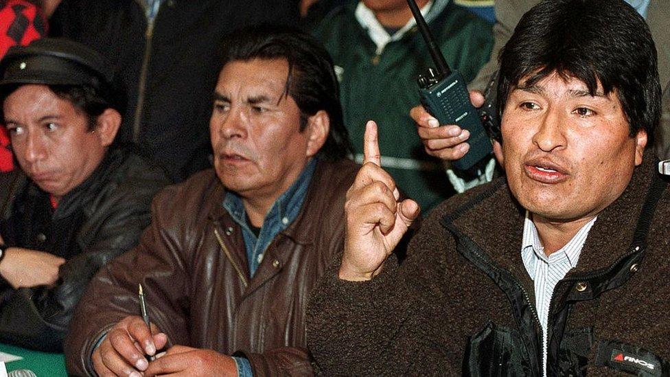 Evo Morales Felipe Quispe y Oscar Olivera