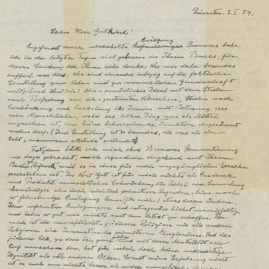 Surat tulisan tangan Albert Einstein yang ditulis pada 1954.