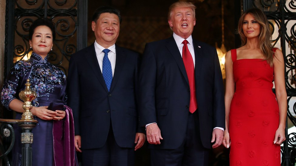 US President Donald Trump and First Lady Melania Trump welcome Chinese President Xi Jinping and First Lady Peng Liyuan