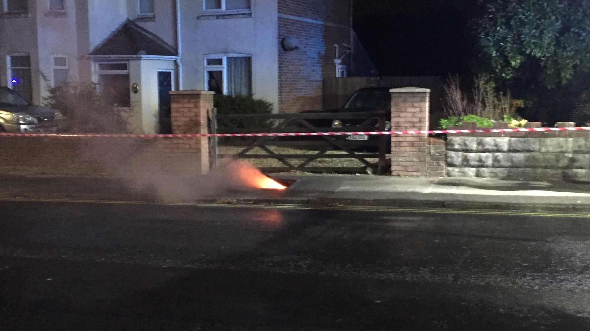Manhole erupts in flames on Bournemouth footpath