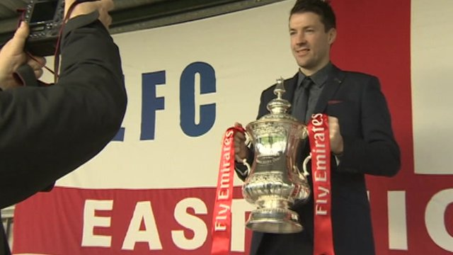 Eastleigh manager Chris Todd with the FA Cup