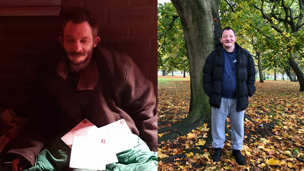David Horne on his birthday while on the streets, and now having found a new life and a flat