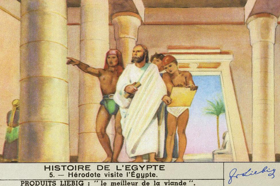 Una ilustración del viaje de Heródoto por Egipto