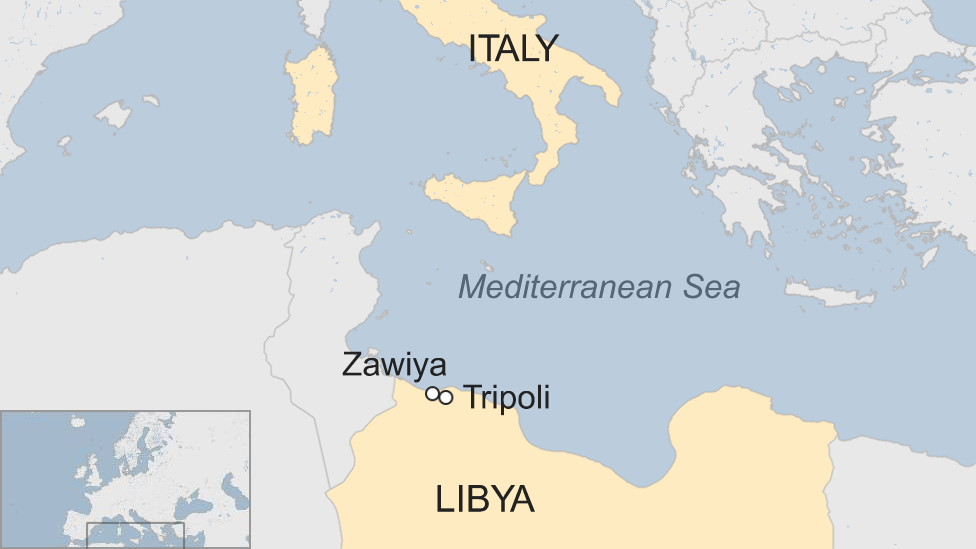 A map showing Libya and Italy