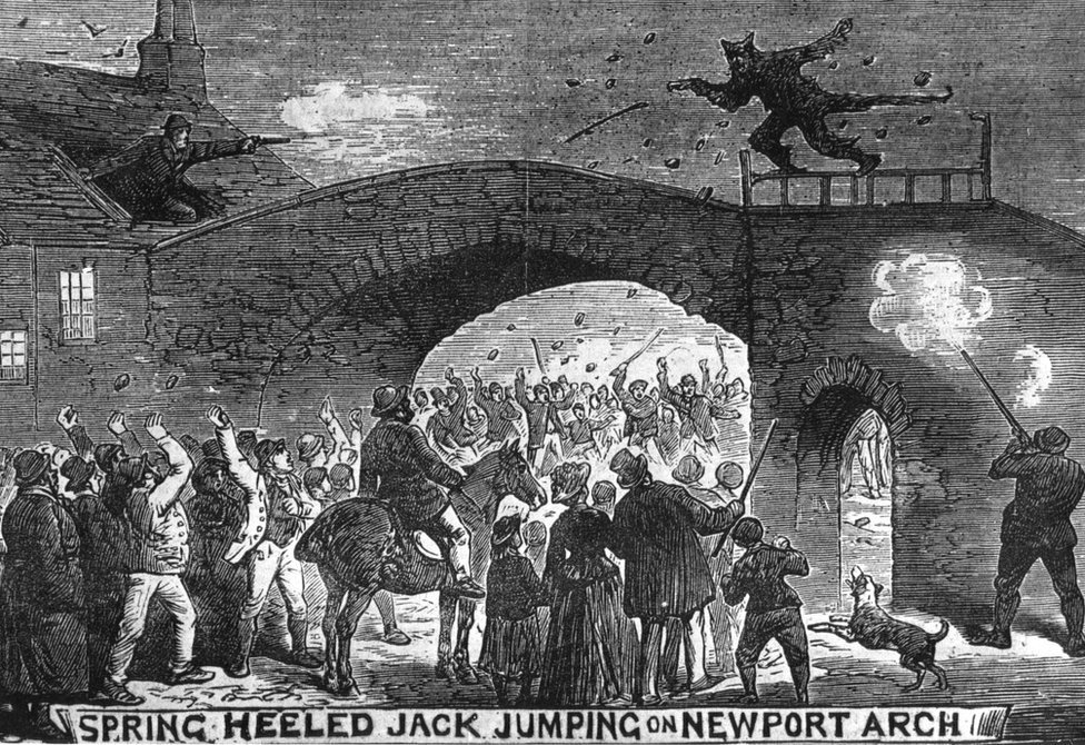 Victorian newspaper drawing of Spring Heeled Jack