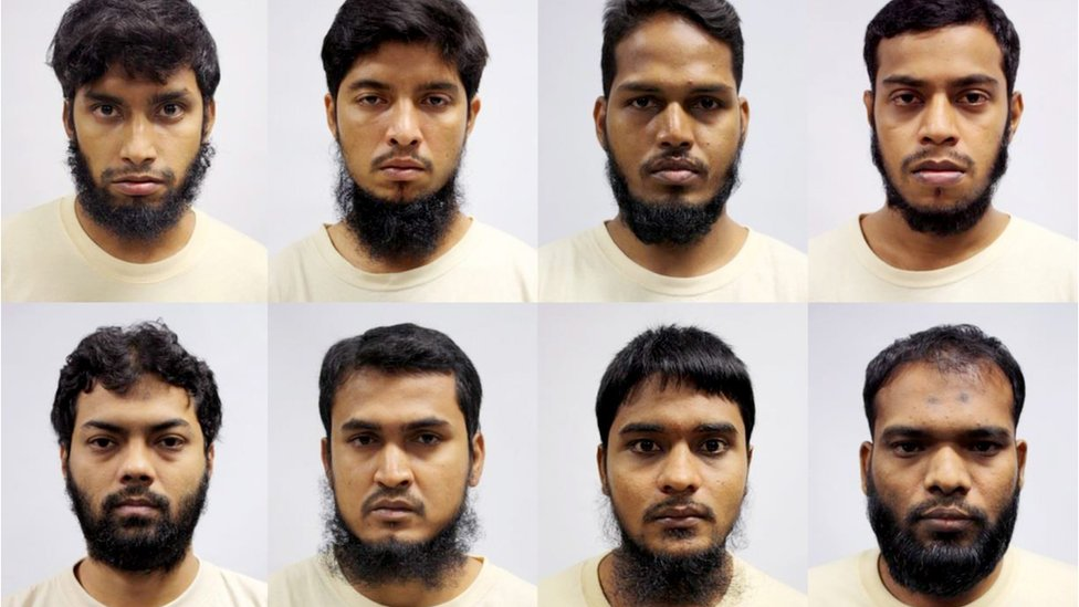 Composite image handed out on 3 May 2016 by Singapore's Ministry of Home Affairs showing eight Bangladeshi nationals detained on suspicion of conspiring to carry out terror attacks