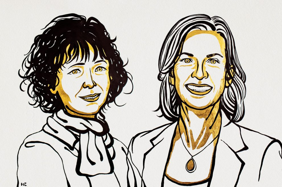Ilustración de Emmanuelle Charpentier y Jennifer A. Doudna