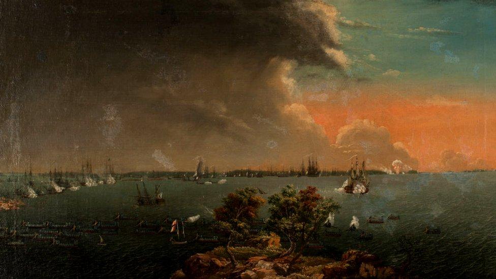 Segunda batalla ruso-sueca de Svensksund el 10 de julio de 1790. Artista: Johan Tietrich Schoultz, (1754-1807).