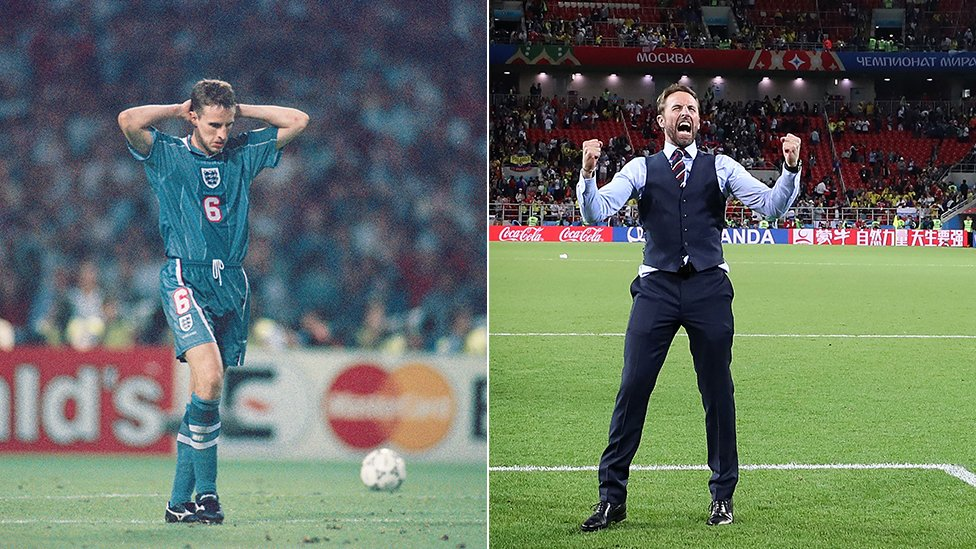 Gareth Southgate in 1996 and 2018