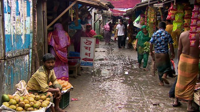 Korail slum in Dhaka, Bangladesh