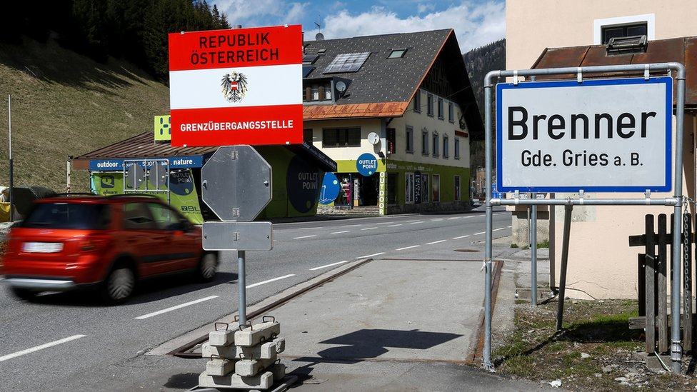 "A sign reading ""Brenner - Brennero"" is pictured at Brenner on the Italian-Austrian border, Austria, April 12, 2016."