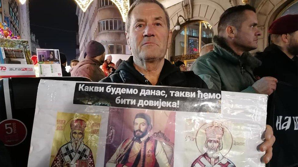 Detalj sa protesta u centru Beograda