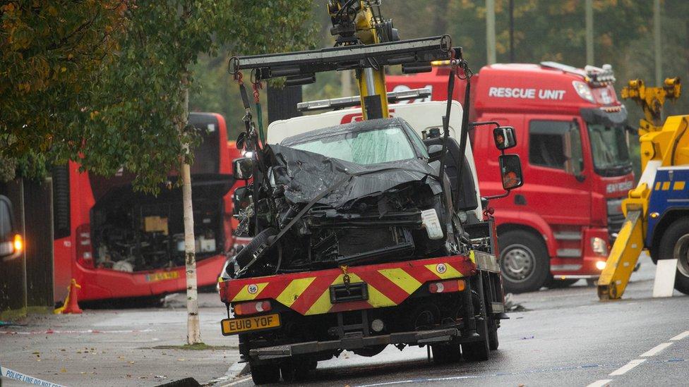 Crushed car being taken away