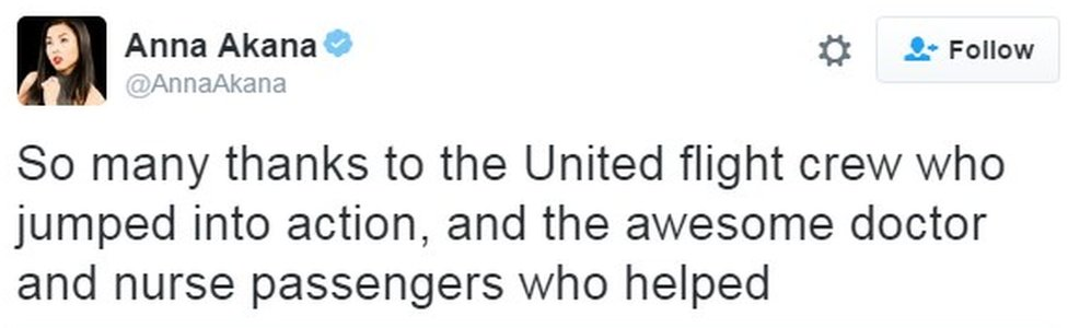 """So many thanks to the United flight crew who jumped into action, and the awesome doctor and nurse passengers who helped"""