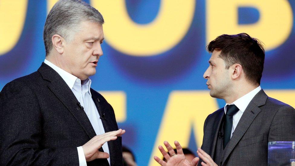 Ukraine comic v oligarch presidential election debate begins