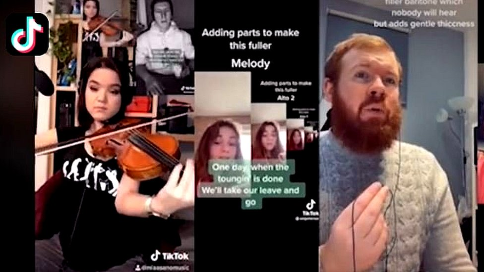 Usuarios de TikTok cantando