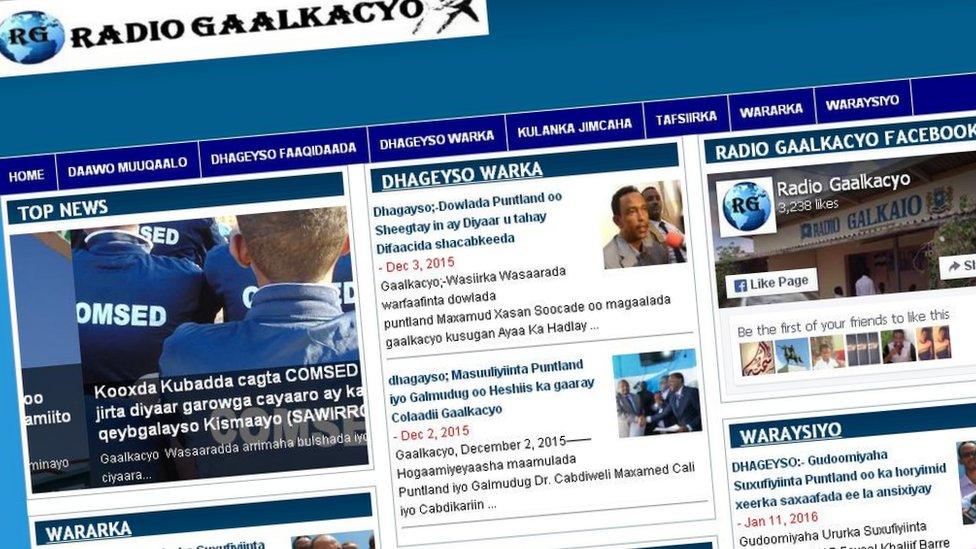 Screengrab of the Puntland radio station Radio Galkayo.
