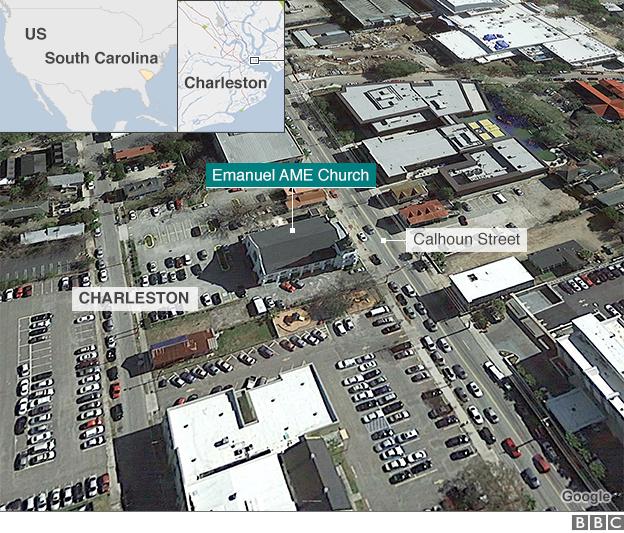 Map of Charleston shooting
