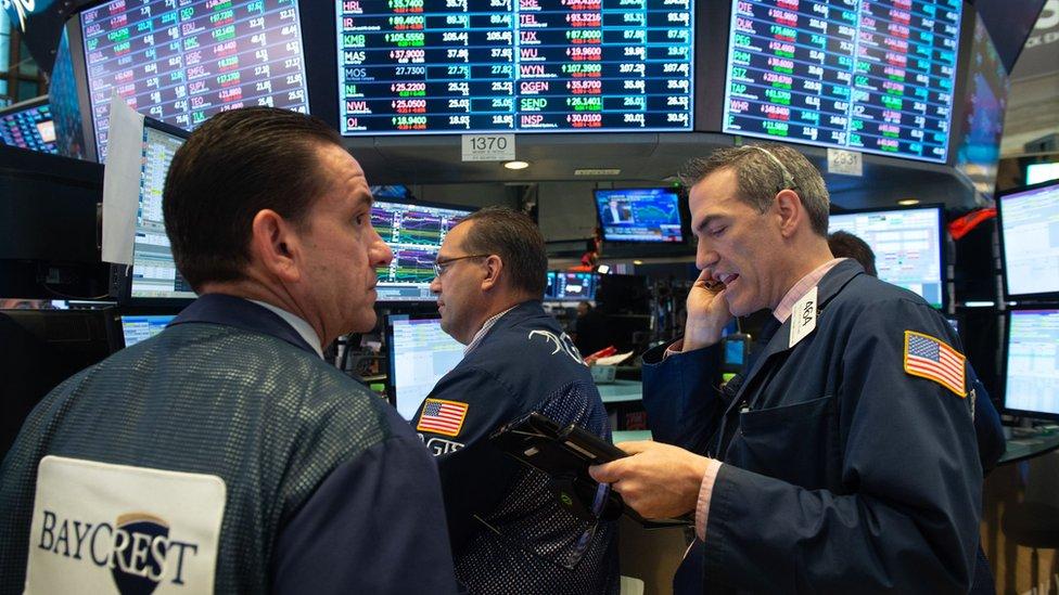 Agentes de bolsa en Wall Street, Nueva York