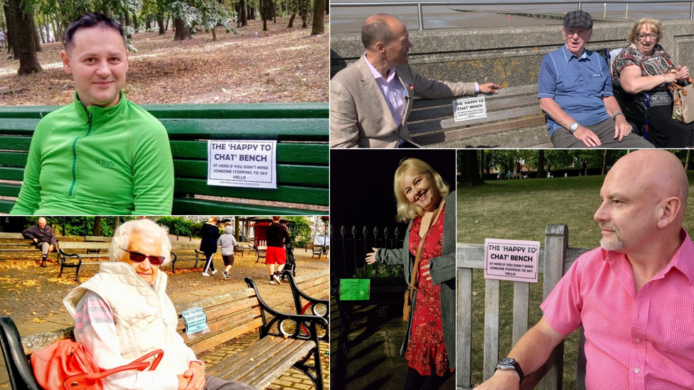 collection of photos of people sat at benches