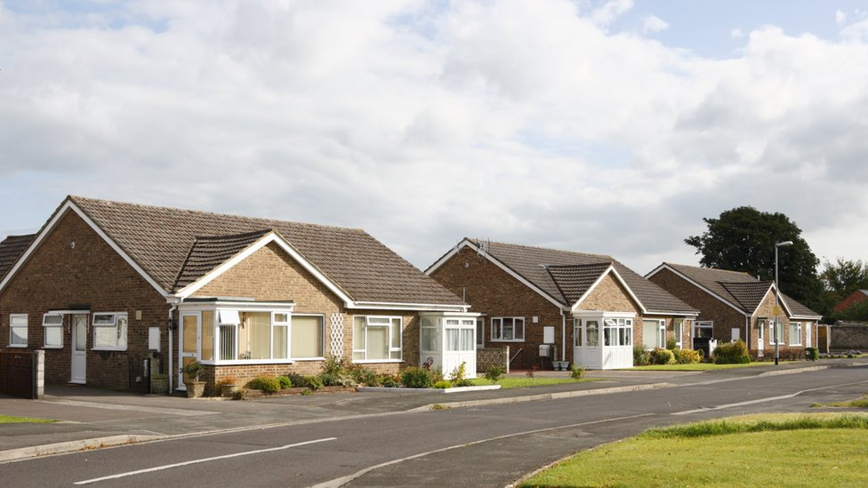 Street full of bungalows, somewhere in Britain