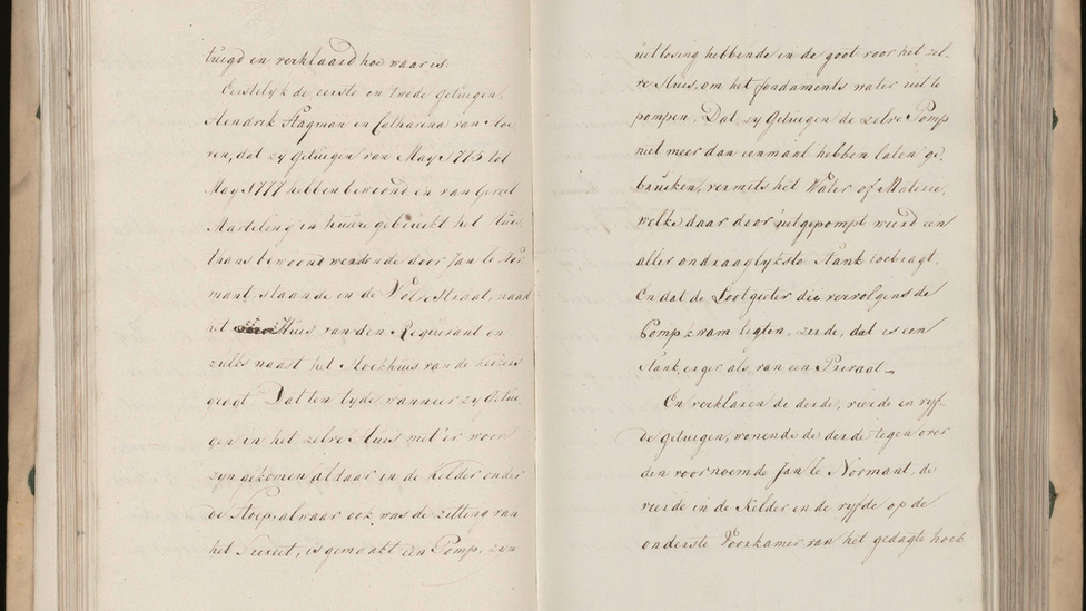 Description of Amsterdam as a 'beautiful virgin with a stinking breath' found in notary archives from 1777