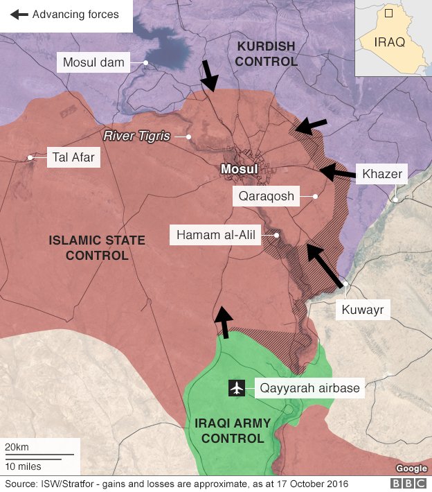 Troops advancing on Mosul map