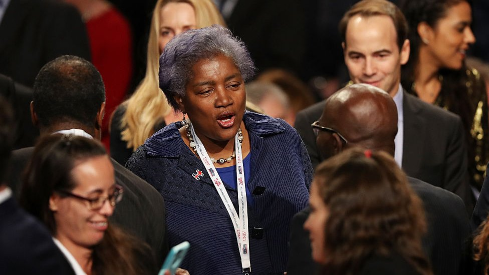 Former DNC Chair Donna Brazile arrives before the start of the third US presidential debate in Las Vegas, Nevada.