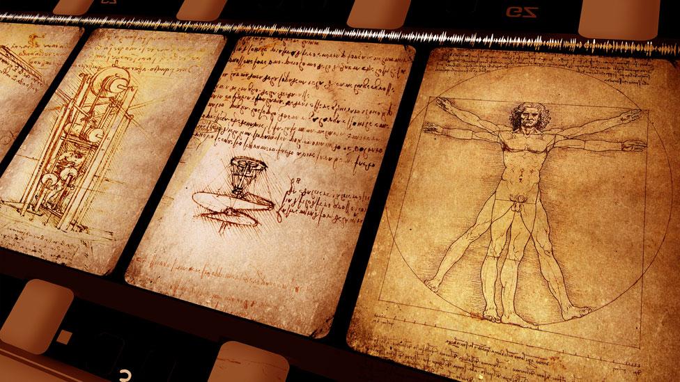 Imágenes de diferentes diseños en los cuadernos de Leonardo Da Vinci