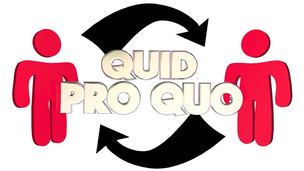 Cartel de Quid Pro Quo con dos figuras que se dan algo mutuamente