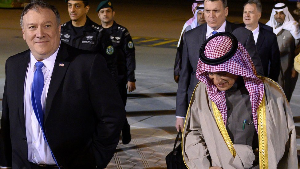 Mike Pompeo (L) arrives in Riyadh and is met by Minister of State for Foreign Affairs Adel al-Jubeir (R)