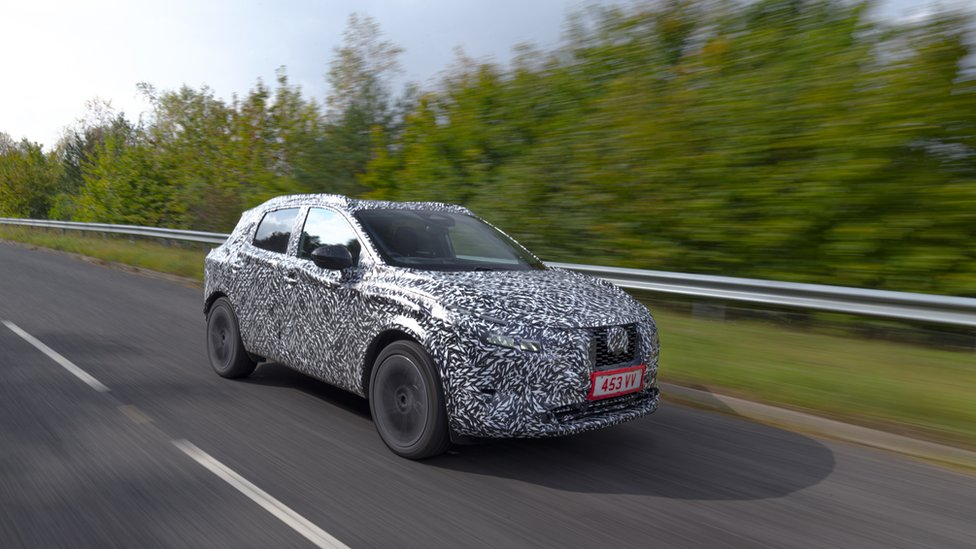 The new Nissan Qashqai hybrid in a camouflage paint scheme