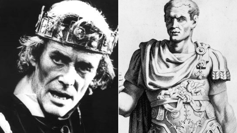 Peter O'Toole as Macbeth, and a painting of Caesar