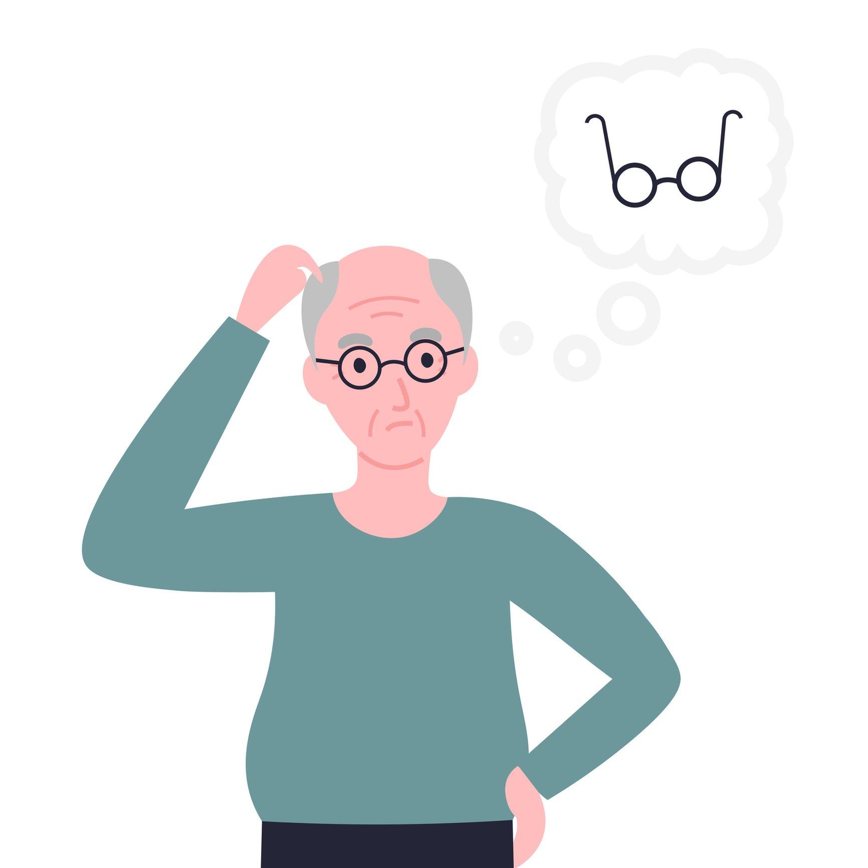Ilustración de un hombre no pudiendo recordar dónde tiene sus anteojos cuando en realidad los lleva puestos.